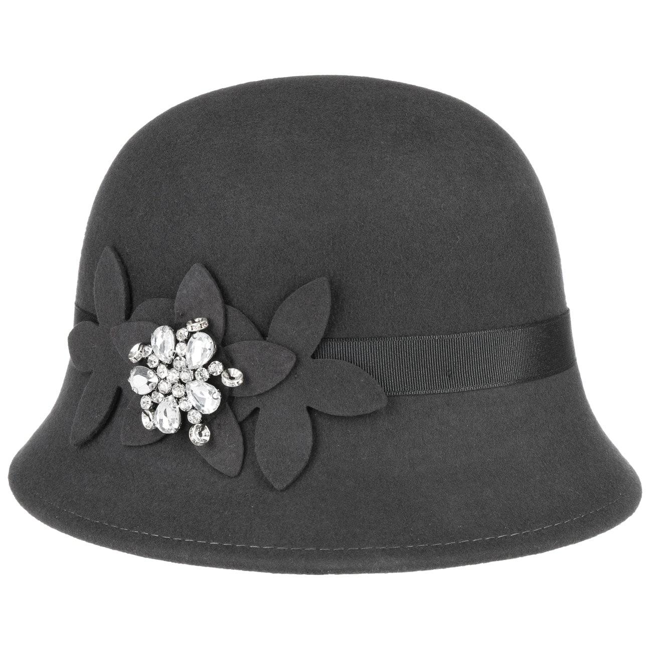 Damenglocke mit Filzblumen und Strass by Lipodo